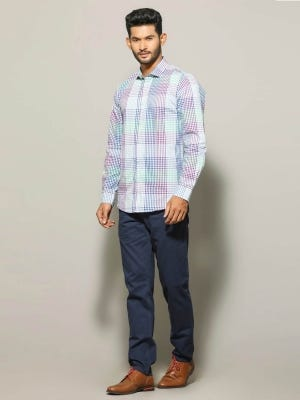 White Patterned Casual Modern Cotton Slim Fit Shirt