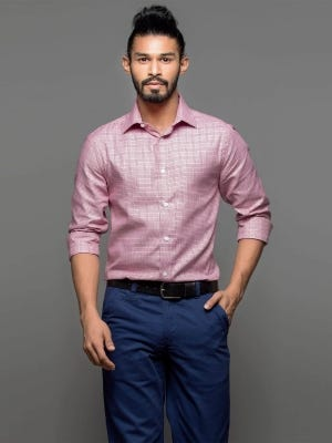 Red Patterned Executive Premium Slim Fit Cotton Shirt
