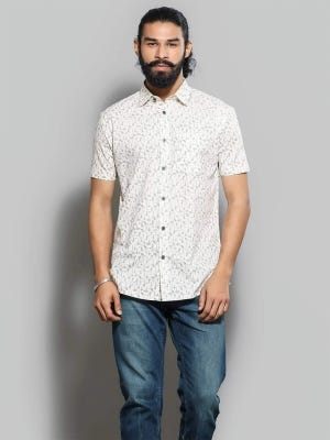 Ivory Printed Casual Modern Slim Fit Cotton Shirt