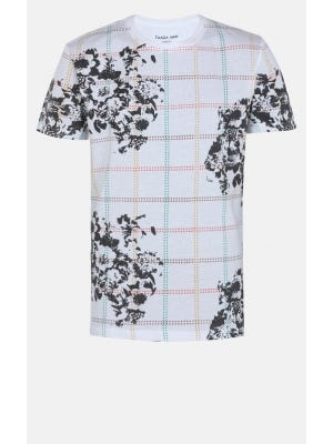 White Graphic Printed Cotton Classic Fit T-Shirt