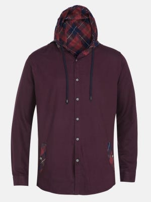 Maroon Casual Fusion Slim Fit Cotton Shirt with Hoodie