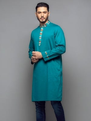 Teal Embroidered Classic Fit Cotton Panjabi