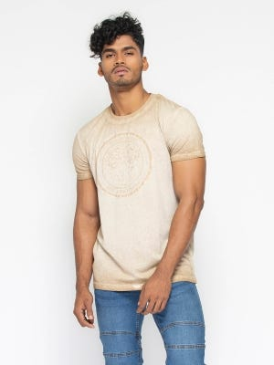 Beige Reverse Dyed Slim Fit T-Shirt