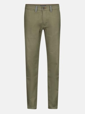 Olive Green Slim Fit Cotton Chinos