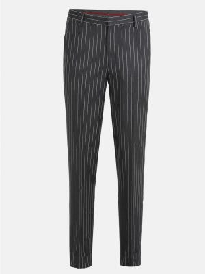 Charcoal Grey Slim Fit Mixed Cotton Formal Trousers