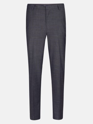 Grey Polyester-Viscose Classic Fit Formal Trousers