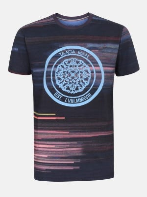 Midnight Blue Slim Fit Printed Cotton T-Shirt