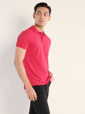 Strawberry Red Classic Fit Cotton Polo Shirt