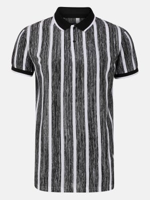 Black Stripe Slim Fit Mixed Cotton Polo Shirt