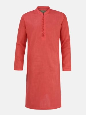 Coral Embroidered Cotton  Panjabi