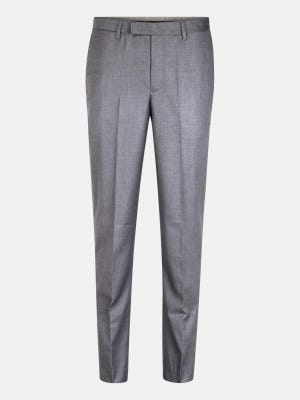 Grey Polyester-Viscose Slim Fit Formal Trousers