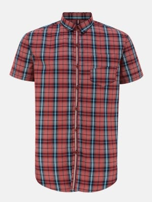Brick Red Slim Fit Casual Fusion Cotton Shirt