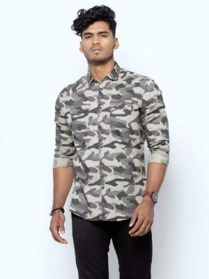 Sage Green Classic Fit Casual Modern Cotton Shirt