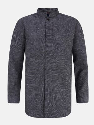 Charcoal Grey Slim Fit Casual Fusion Cotton Shirt