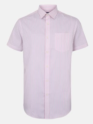 Pink Striped Executive Formal Slim Fit Cotton Shirt