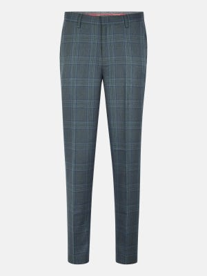 Moss Green Check Polyester-Viscose Slim Fit Formal Trousers