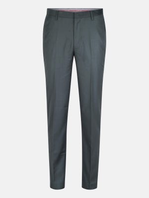 Bottle Green Polyester-Viscose Classic Fit Formal Trousers