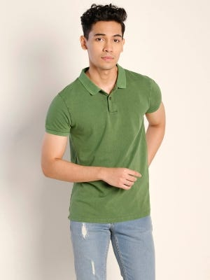 Green Mixed Cotton Polo Slim Fit Shirt
