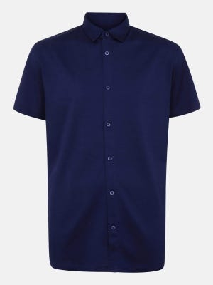 Midnight Blue Casual Fusion Classic Fit Cotton Shirt