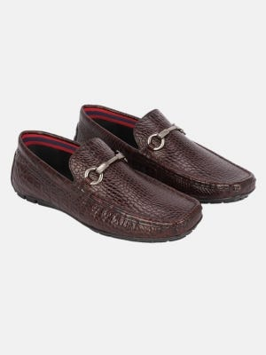 Deep Brown Embossed Leather Loafer