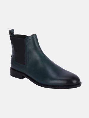 Navy Blue Leather Boot