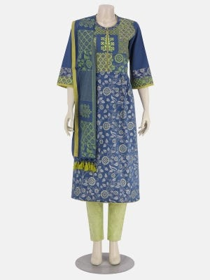 Blue Printed and Embroidered Viscose-Cotton Kameez Set