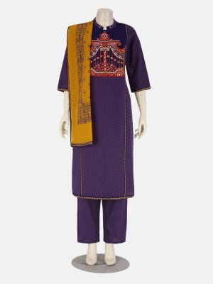 Purple Printed and Embroidered Cotton Kameez Set