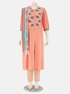 Peach Printed and Embroidered Viscose Kameez Set
