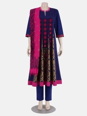 Purple Printed and Embroidered Viscose-Cotton Kameez Set