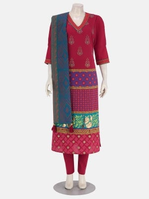 Red Printed and Embroidered Cotton Shalwar Kameez Set