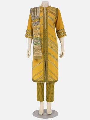 Mustard Yellow Printed and Embroidered Linen-Rayon Kameez Set