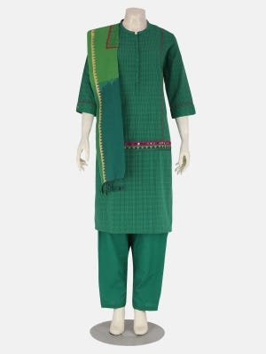 Green Handloom Printed and Embroidered Cotton Kameez Set