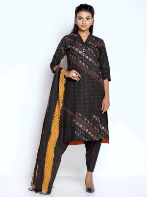Black Printed and Embroidered Cotton Kameez Set