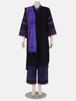 Midnight Blue Printed and Embroidered Cotton Kameez Set
