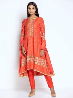 Watermelon Printed and Embroidered Viscose-Cotton Kameez Set
