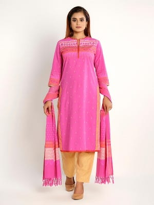 Pink Printed and Embroidered Viscose-Cotton Kameez Set