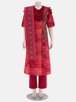 Red Printed and Embroidered Viscose-Cotton Kameez Set